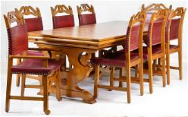 Large Oak Tudor Style Table  8 Red Leather Chairs