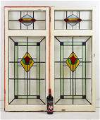 Pair Tall English Multi Color Stained Glass Windows