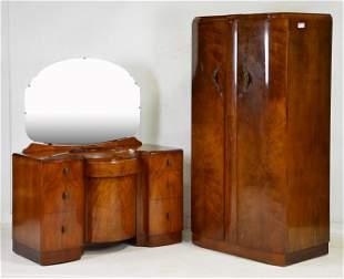 3pc Walnut Bed Set -2 Robes & Dresser