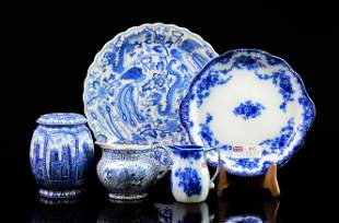 5pcs Assorted Flow Blue / Blue & White China