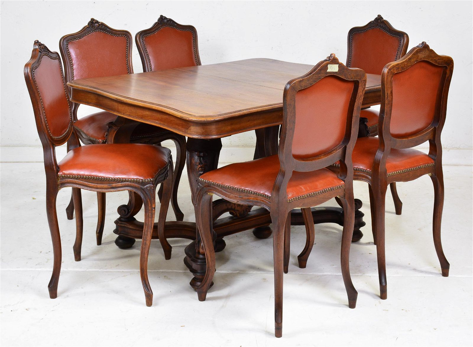 Louis XV Style Walnut Dining Table & 6 Chairs