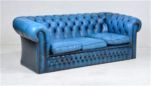 Blue Leather Tufted Chesterfield Sofa