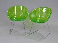2 Vintage Green Acrylic / Chrome Chairs