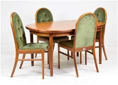 Mid Century Modern Teak Oval Table & 4 Chairs