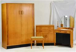 4pc Mid Century Modern Bedroom Set