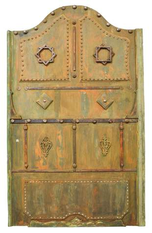 Very Large Green Painted Arch Top Door