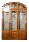 Very Large Arch Top Vitraux / Stained Glass Door