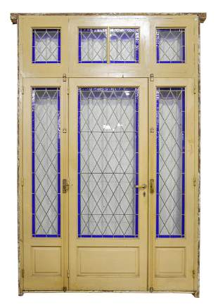Very Large Painted Blue Stained Glass Door