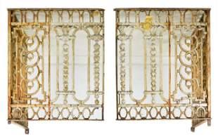 Pair Painted Iron Gates / Railing
