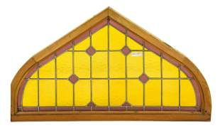 Arch Top Vitraux / Stained Glass Window - Yellow #2