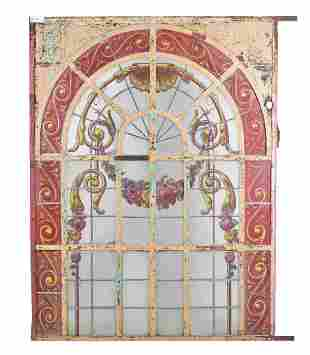 Large French Style Painted Arch Top Window / Panel
