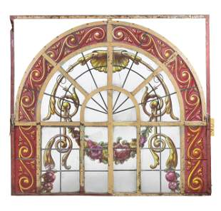 French Style Painted Arch Top Window / Panel