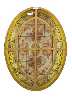 Oval French Style Painted Window With Yellow Border