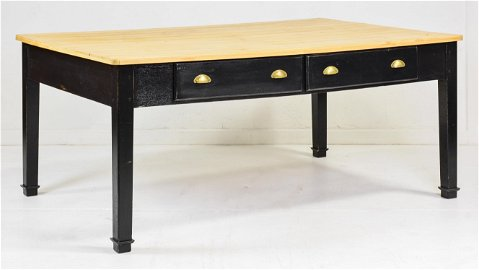 Very Large Painted Base Pine 2 Drawer Farm Table