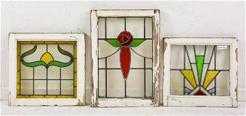 3 Assorted English Stained Glass Windows