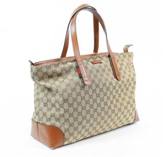 Gucci Men's Tote in Monogrammed Canvas