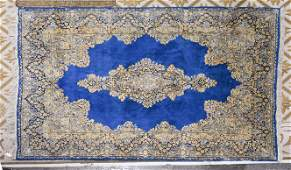 Room Size Hand Knotted Kerman Rug - Blue