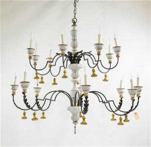 Painted Italian Style 16 Arm Chandelier