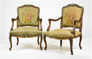Pair Country French Needle Point Arm Chairs