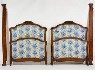 Pair French Blue Upholstered Beds