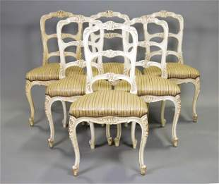 Set Of 6 Painted Country French Chairs