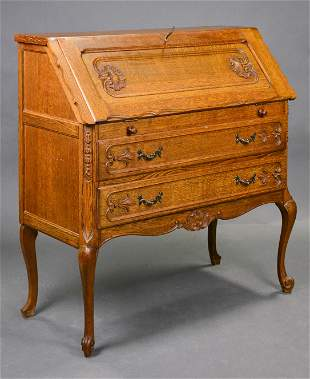 Country French Carved Oak Bureau / Drop Front Desk