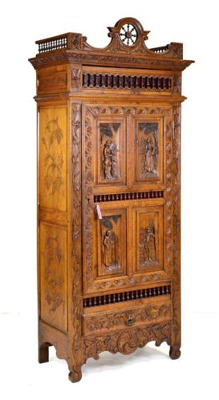 French Breton Cupboard With Figural Carving