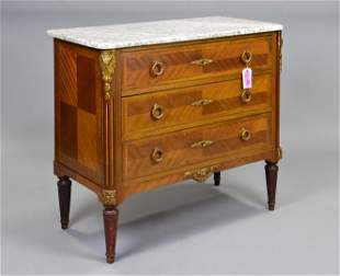 French Marble Top Brass Fitted 3 Drawer Chest