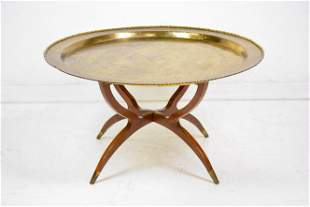 Large Round Brass Top Coffee Table