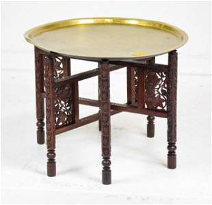 Round Brass Top Carved Oak Base Coffee Table