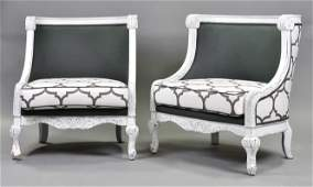 Pair Large Painted Upholstered Chairs