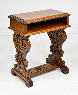 Well Carved Side Table With Shelf