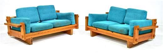 2 Swedish Mid Century Modern Pine Sofas