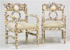 Pair Shell Arm Chairs