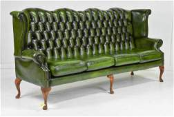 Green Leather High Back Chesterfield Sofa