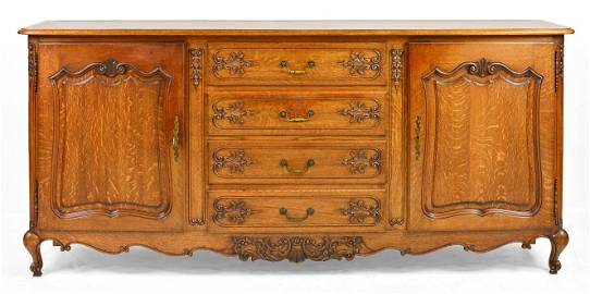 Country French Carved Oak Server / Sideboard