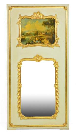 Louis XV Style Painted Trumeau Mirror
