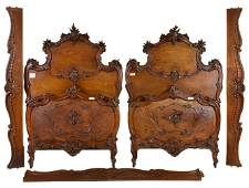 Pair Louis XV Style Carved Walnut Beds