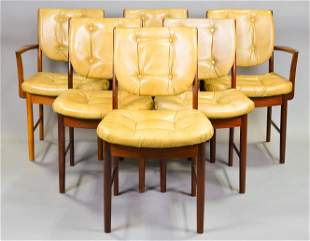 6 Button Tufted Mid Century Dining Chairs