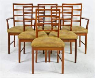 6 Mid Century Modern Bow Tie Ladder Back Chairs