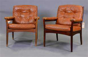2 Mid-Century Leather Arm Chairs - Gote Mobler