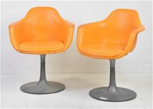 Pair of  Tulip Base Swivel Chairs by Krueger