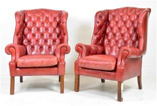Pair Leather Button Tufted Wingback Armchairs