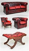4 Piece British Red Leather Chesterfield Suite