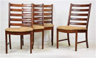 4 Mid Century Ladder Back Dining Chairs