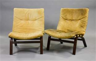Pair Bentwood Mid Century Modern Lounge Chairs