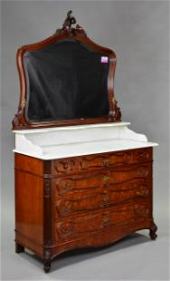 French Marble Top Mirror Back Dressing Chest