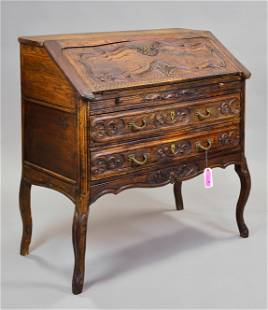 Country French Carved Oak Drop Front Desk