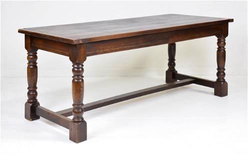 Dark Oak Farm Table With Turned Legs