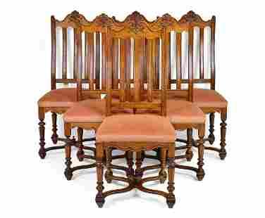 Set Of 6 French Slat Back Oak Chairs